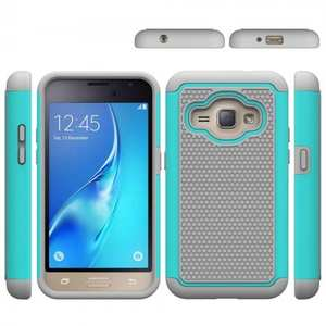 Hybrid Shockproof Rubber Protective Cover Case For Samsung Galaxy J1 Luna 2016 - Cyan&Gray
