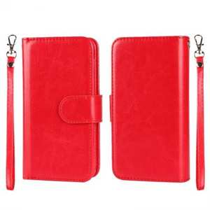 Magnetic Removable Detachable Horizontal Flip PU Leather Wallet Case for iPhone 6S/6 Plus 5.5Inch - Red