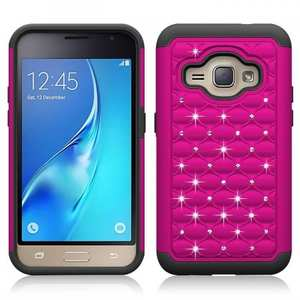 Hybrid Armor Dual Layer Diamond Protective Case for Samsung Galaxy AMP 2 / J1 (2016) - Hot pink&Black