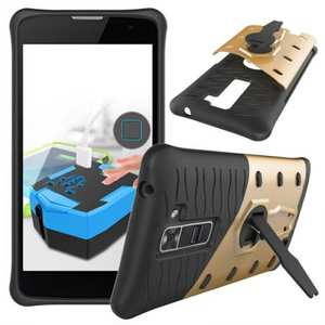 360° Degree Kickstand Rugged Armor Protective Cover Case for LG K8 / Escape 3 - Gold