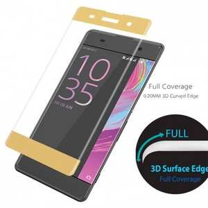 3D Curved Edge Full Coverage Premium Tempered Glass Screen Protector for Sony Xperia XA - Gold