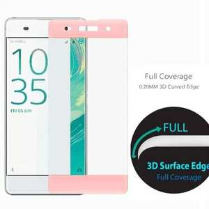 3D Curved Edge Full Coverage Premium Tempered Glass Screen Protector for Sony Xperia XA - Rose gold