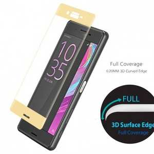3D Curved Full Covergae Tempered Glass Screen Protector for Sony Xperia X Performance - Gold