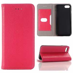 Lichee Pattern Card Slot Flip Stand TPU+Genuine Leather Case for iPhone 7 4.7 inch - Rose