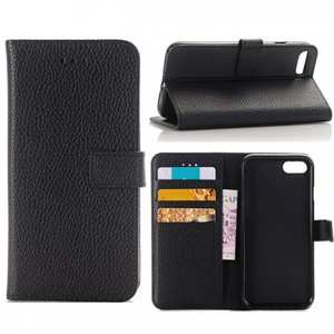Litchi Grain PU Leather Flip Stand Case Cover with Card Slot for iPhone 7 - Black