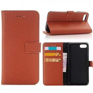 Litchi Grain PU Leather Flip Stand Case Cover with Card Slot for iPhone 7 - Brown