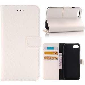 Litchi Grain PU Leather Flip Stand Case Cover with Card Slot for iPhone 7 - White