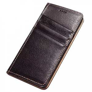 Real Genuine Cowhide Leather Card Stand Cover Case For Samsung Galaxy Note 7 - Dark Brown