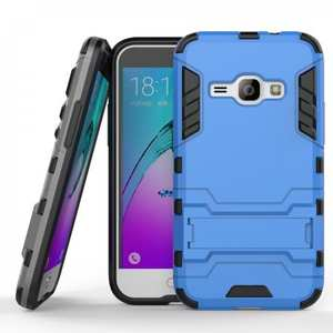 Rugged Armor Dual Layer Hybrid Kickstand Protective Case for Samsung Galaxy J1 2016 / Amp 2 - Blue