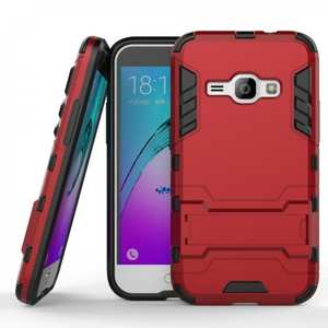 Rugged Armor Dual Layer Hybrid Kickstand Protective Case for Samsung Galaxy J1 2016 / Amp 2 - Red