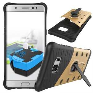 Rugged Armor Shockproof Hybrid Kickstand Protective Case for Samsung Galaxy Note 7 - Gold