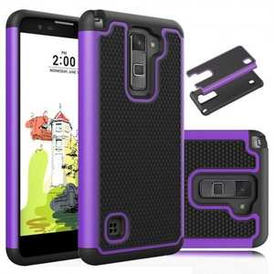 Tough Dual Layer Hybrid Armor Shockproof Case Cover For LG Stylo 2 Plus MS550 - Purple