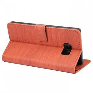 Wood Grain Pu Leather Wallet Stand Card Slots Case for Samsung Galaxy Note 7 - Orange