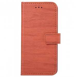 Wood Pattern Wallet Flip Stand PC + PU Leather Case for iPhone 7 Plus - Brown