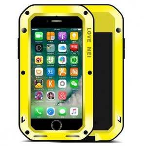 Aluminum Metal Gorilla Glass Shockproof Case for Apple iPhone 7 - Yellow