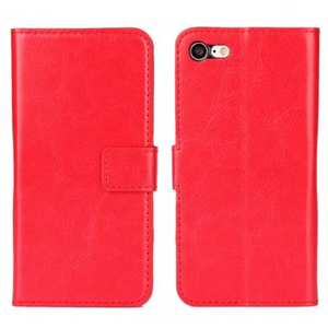 Crazy Horse Magnetic PU Leather Flip Case Inner TPU Frame for iPhone 7 4.7 inch - Red