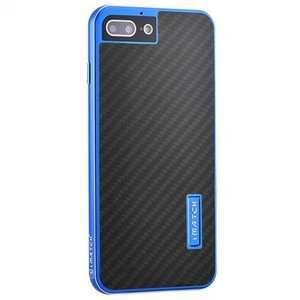 Deluxe Metal Aluminum Frame Carbon Fiber Back Case Cover For iPhone 7 4.7 inch - Blue&Black
