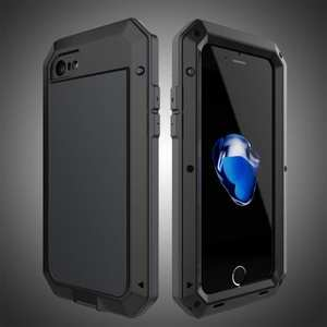 Full-Body Aluminum Metal Cover & Tempered Glass Screen Protector Case for iPhone 7 - Black