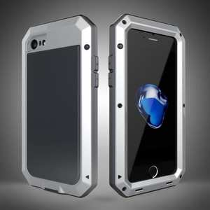 Full-Body Aluminum Metal Cover & Tempered Glass Screen Protector Case for iPhone 7 - Silver
