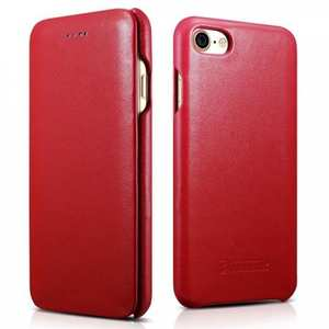 ICARER Curved Edge Luxury Series Genuine Cowhide Leather Case Cover For iPhone 7 - Red