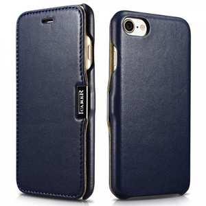 ICARER Luxury Magnet Genuine Leather Side-Open Flip Case For iPhone 7 Plus 5.5 inch - Dark Blue