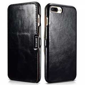 ICARER Vintage Series Genuine Leather Side Magnetic Flip Case for iPhone 7 Plus 5.5 inch - Black