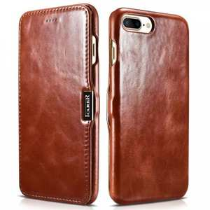 ICARER Vintage Series Genuine Leather Side Magnetic Flip Case for iPhone 7 Plus 5.5 inch - Brown