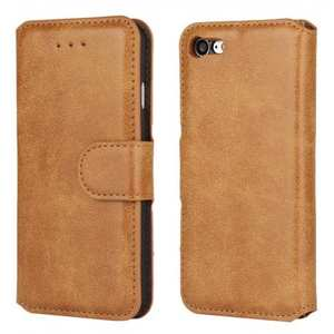 Matte Frosted Leather Flip Stand Wallet Case for iPhone 7 Plus 5.5 inch - Brown