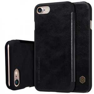 Nillkin Qin Matte Card Slot Wallet Leather Cover Case For iPhone 7 4.7 inch - Black