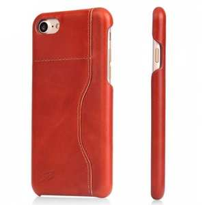 Oil Wax Grain Genuine Leather Back Cover Case With Card Slot For iPhone 7 4.7 inch - Orange