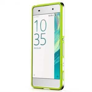 Premium Dual Color Aluminum Metal Frame Bumper Case for Sony Xperia XA - Green