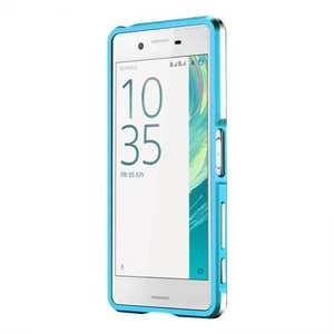 Premium Dual Color Metal Aluminum Bumper Protective Case for Sony Xperia X Performance - Blue
