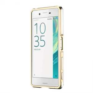 Premium Dual Color Metal Aluminum Bumper Protective Case for Sony Xperia X Performance - Gold