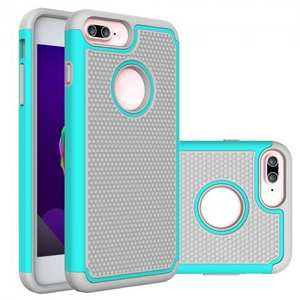 Rugged Armor Dual Layer Shockproof Protective Case for iPhone 6 Plus 5.5inch - Cyan&Gray