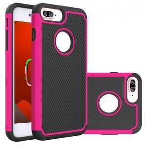 Rugged Armor Dual Layer Shockproof Protective Case for iPhone 6 Plus 5.5inch - Hot pink