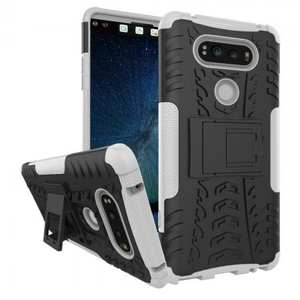Rugged Armor Hybrid Dual Layer Kickstand Protective Case for LG V20 - White