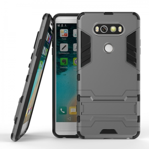 Slim Armor Shockproof Cover Hybrid Kickstand Protective Case for LG V20 - Gray