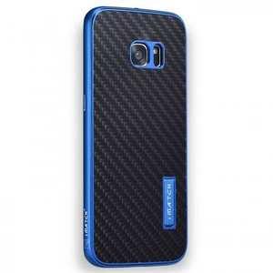 Aluminum Metal Bumper+Carbon Fiber Back Case Cover For Samsung Galaxy S7 Edge - Blue&Black
