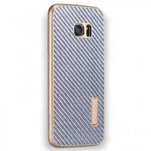 Aluminum Metal Bumper+Carbon Fiber Back Case Cover For Samsung Galaxy S7 Edge - Gold&Silver
