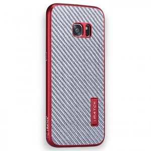 Aluminum Metal Bumper+Carbon Fiber Back Case Cover For Samsung Galaxy S7 Edge - Red&Silver