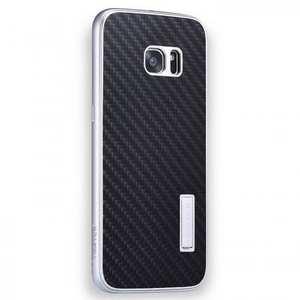 Aluminum Metal Bumper+Carbon Fiber Back Case Cover For Samsung Galaxy S7 Edge - Silver&Black