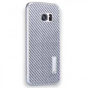 Aluminum Metal Bumper+Carbon Fiber Back Case Cover For Samsung Galaxy S7 Edge - Silver
