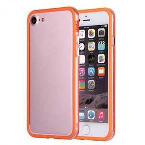 Clear Soft TPU Back Frame Border Cover TPU Bumper Case for iPhone 7 4.7inch - Clear&Orange