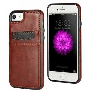 Crazy Horse Leather Card Slots TPU Back Case Cover For iPhone 7 Plus 5.5 inch - Brown