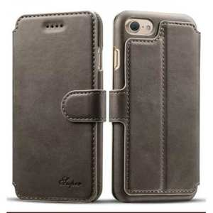 Crazy Horse Leather Flip Wallet Stand Case Cover for iPhone 7 Plus 5.5 Inch - Grey