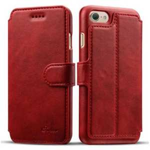 Crazy Horse Leather Flip Wallet Stand Case Cover for iPhone 7 Plus 5.5 Inch - Red
