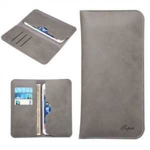 Crazy Horse PU Leather Flip Bag Pouch Wallet Case for iPhone 7 Plus 5.5 Inch - Grey