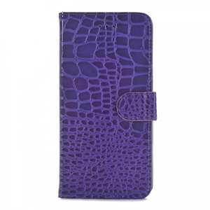 Crocodile Magnetic Wallet Flip Leather Stand Case for iPhone 7 4.7 inch - Purple