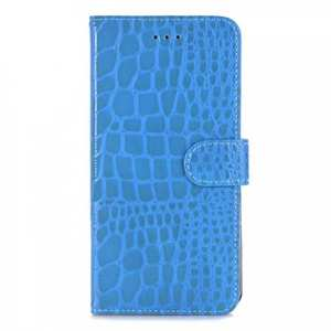 Crocodile Pattern PU Leather Stand Case with Card Slots For iPhone 7 Plus 5.5 inch - Blue