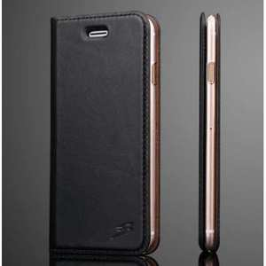 Fashion Oil Wax Genuine Leather Stand Wallet Flip Case for iPhone 7 4.7 inch - Black